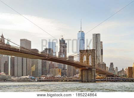 Manhattan skyline with Brooklyn Bridge and Freedom Tower.