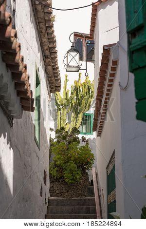 Street of the mountain village of Tejeda, Gran Canaria
