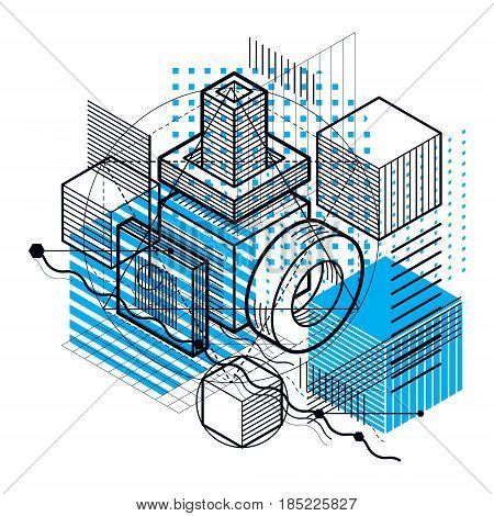 Isometric Abstraction With Lines And Different Elements, Vector Abstract Background. Composition Of