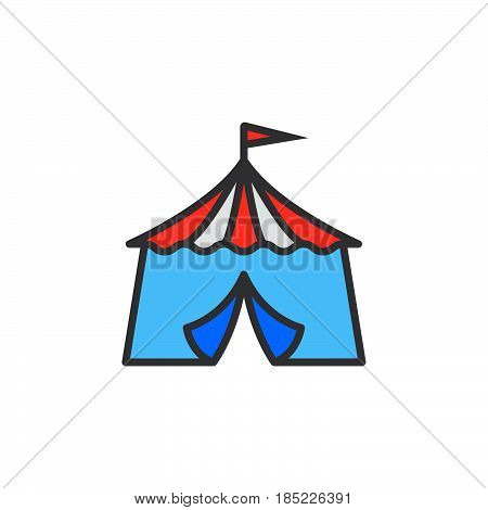 Circus Tent Line Icon, Filled Outline Vector Sign, Linear Colorful Pictogram Isolated On White. Logo