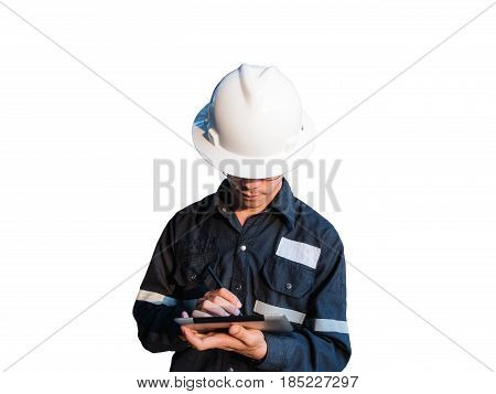 Engineer or Technician in white helmet, glasses and blue working shirt suit using a digital tablet, isolated on white, Electricity and Oil and Gas industrial concept with clipping path.