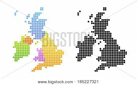 Map of United Kingdom and Ireland Vector Colorful and Black Illustrations in creative style.