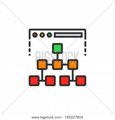 Site Map Line Icon, Filled Outline Vector Sign, Linear Colorful Pictogram Isolated On White. Logo Il