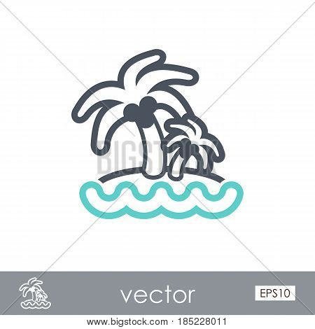 Island with palm trees outline vector icon. Beach. Summer. Summertime. Vacation eps 10