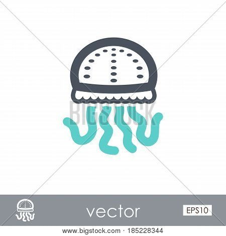 Jellyfish outline vector icon. Beach. Summer. Summertime. Vacation eps 10