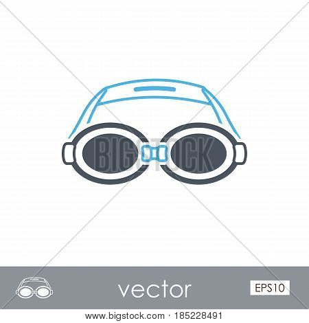 Swimming Goggles outline vector icon. Beach. Summer. Summertime. Vacation eps 10