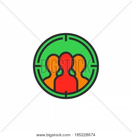 Audience Targeting Line Icon, Filled Outline Vector Sign, Linear Colorful Pictogram Isolated On Whit