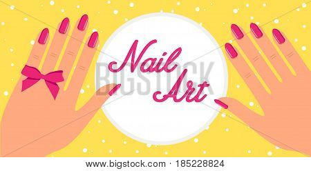 Woman hand with pink fingernails and pink bow on yellow background. Vector flat design of manicure procedure