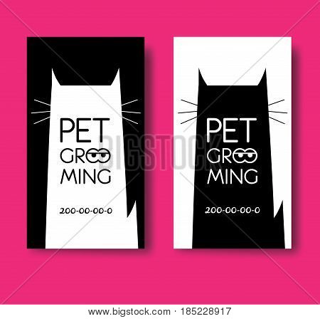 Logo for pet hair salon. Pet grooming salon. Vector cat silhouette