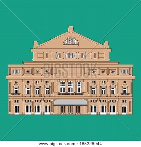 The Teatro Colon main opera house in Buenos Aires. Vector illustration