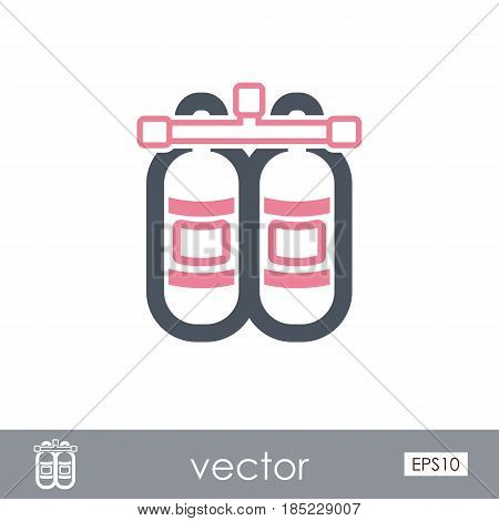 Oxygen tank outline vector icon. Beach. Summer. Summertime. Vacation eps 10
