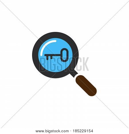 Keyword Research Symbol. Magnifying Glass And Key Icon Vector, Flat Sign, Solid Colorful Pictogram I