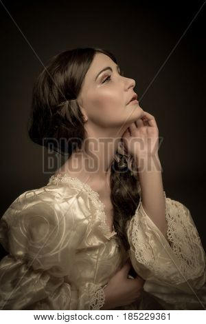 Portrait Of Woman In Vintage Dress