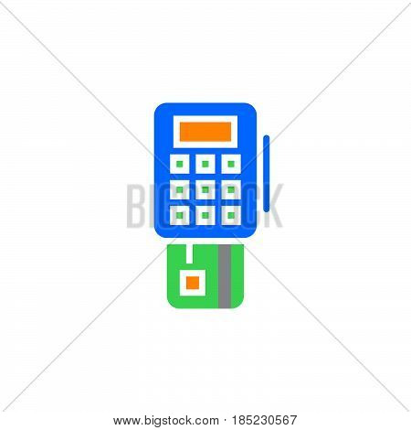 Pos Terminal Icon Vector, Filled Flat Sign, Solid Colorful Pictogram Isolated On White, Logo Illustr
