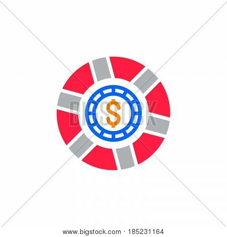 Casino Token, Gaming Chip Icon Vector, Filled Flat Sign, Solid Colorful Pictogram Isolated On White,