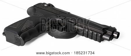 Handgun isolated on white background. close up
