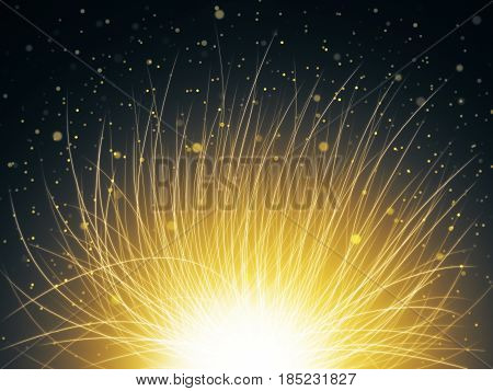 Abstract yellow space flower on starry sky background. 3D Rendering