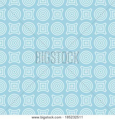 Geometric round shape blue seamless pattern. Circles and rhombus. Vector illustration