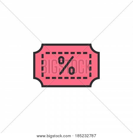 Discount Coupon Line Icon, Filled Outline Vector Sign, Linear Colorful Pictogram Isolated On White.