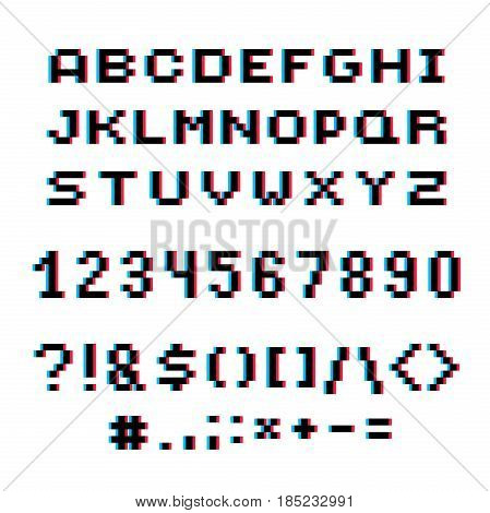 Vector modern numbers letters and punctuation marks created in technology style. Geometric pixilated digits and font 3d dotted 8 bit numeration from 0 to 9.
