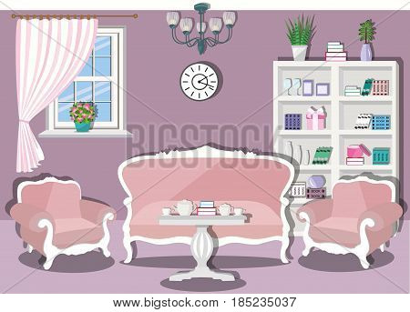 Vintage living room interior design with furniture in pastel colors - sofa, armchairs, table and bookcase. Flat style vector illustration.