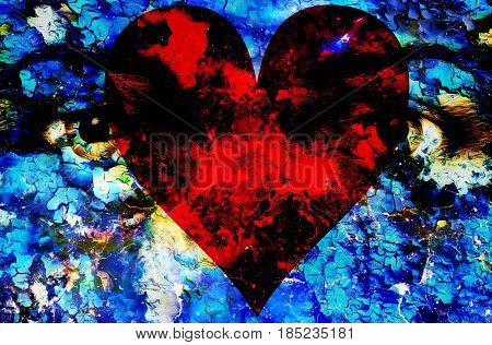 Jesus eye and heart in cosmic space. computer collage version. Crackle effect