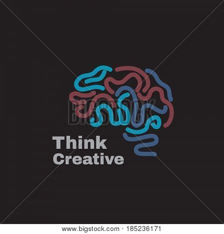 Vector logo with human abstract brain . Think idea and brainstorm concept.