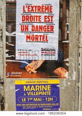 Extreme Droite Est Un Danger Poster Above Marine Le Pen Campaign Poster