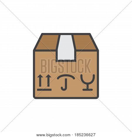 Fragile Package Line Icon, Filled Outline Vector Sign, Linear Colorful Pictogram Isolated On White.