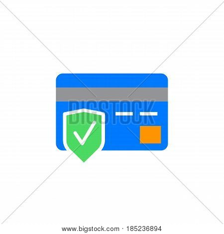 Secure Payment Symbol. Credit Card And Shield Icon Vector, Filled Flat Sign, Solid Colorful Pictogra