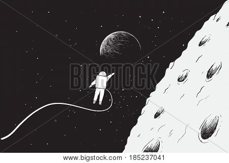 Astronaut flying very close near the Moon.Science theme.Hand drawn vector illustration