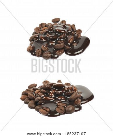 Pile of roasted coffee beans covered with the liquid chocolate syrup, composition isolated over the white background, set of two different foreshortenings
