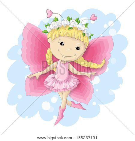 Sweet butterfly girl in a pink dress. Vector illustration