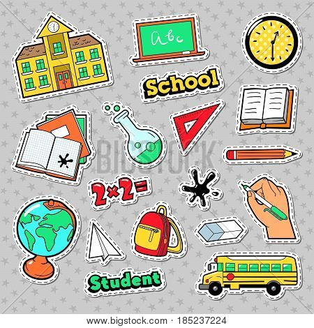 School and Education Badges, Patches, Stickers with Books, Globe and Backpack. Vector doodle