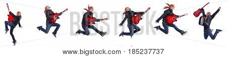 Guitar player isolated on white
