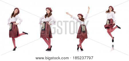 Pretty girl in plaid red clothing isolated on white