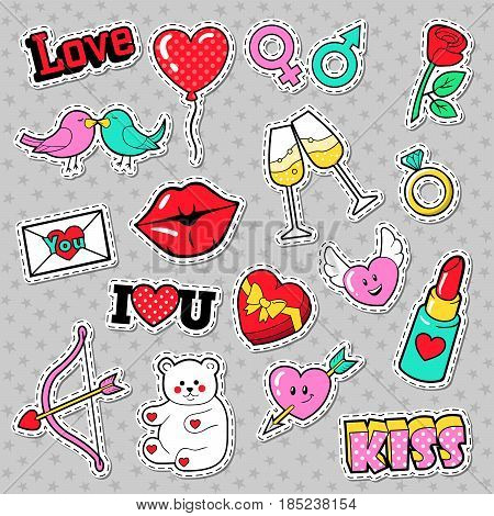 Fashion Love Badges, Patches, Stickers with Lips, Hearts, Kiss and Lipstick. Vector illustration