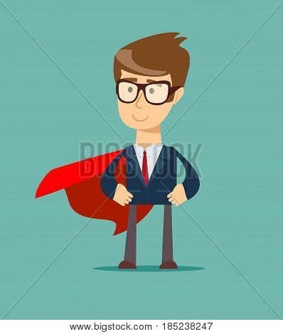 Hero with Cape. Stock flat vector illustration.
