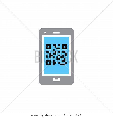Qr Code On Smartphone Icon Vector, Filled Flat Sign, Solid Colorful Pictogram Isolated On White, Log