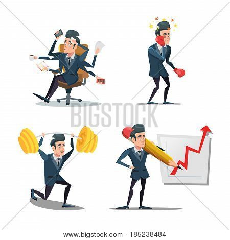 Businessman at Work. Business Planning. Vector cartoon illustration