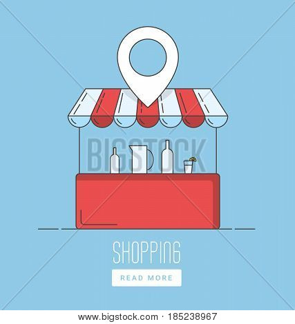 Supermarket location icon. Map pointer silhouette symbol. Shopping cart pinpoint. Grocery store nearby. Vector isolated illustration