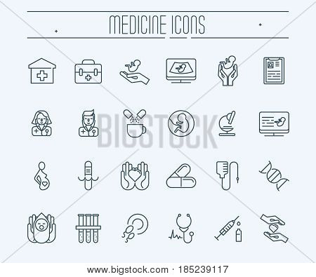 Set of thin line icons. Medicine and healthcare. Diagnostic of pregnant woman, newborn. Doctors with stethoscope. Medical equipment and medicine. Vector illustration.