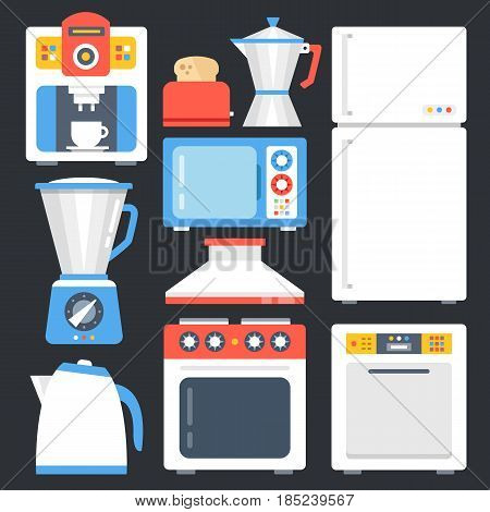 Kitchen appliances, household, home appliances set. Modern flat icons set, trendy graphic elements, objects for websites, web banners, infographics, etc. Creative design concepts. Vector illustration