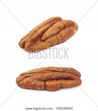 Single pecan nut isolated over the white background, set of two different foreshortenings