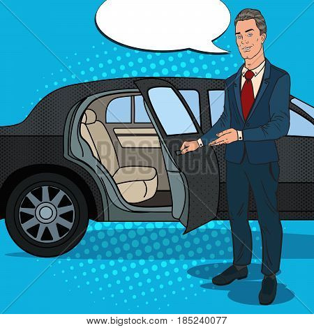 Driver Standing ner Black Limousine. Chauffeur of Luxury Car. Pop Art vector illustration