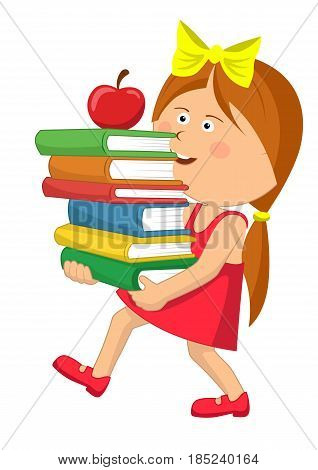 Cute primary schoolgirl carrying stack books with red apple over white background