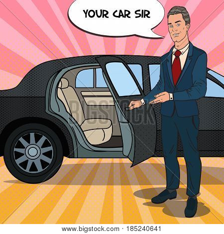 Driver Standing ner Black Limousine. Chauffeur of Premium Car. Pop Art vector illustration