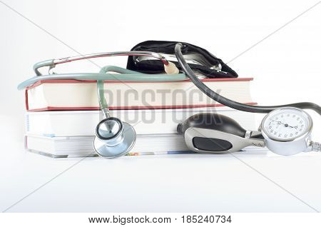 Concept of medical education with books stethoscope