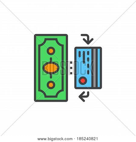 Cash And Cashless Payments Line Icon, Filled Outline Vector Sign, Linear Colorful Pictogram Isolated