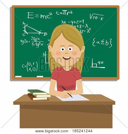 Female teacher sitting at the table in classroom next to blackboard